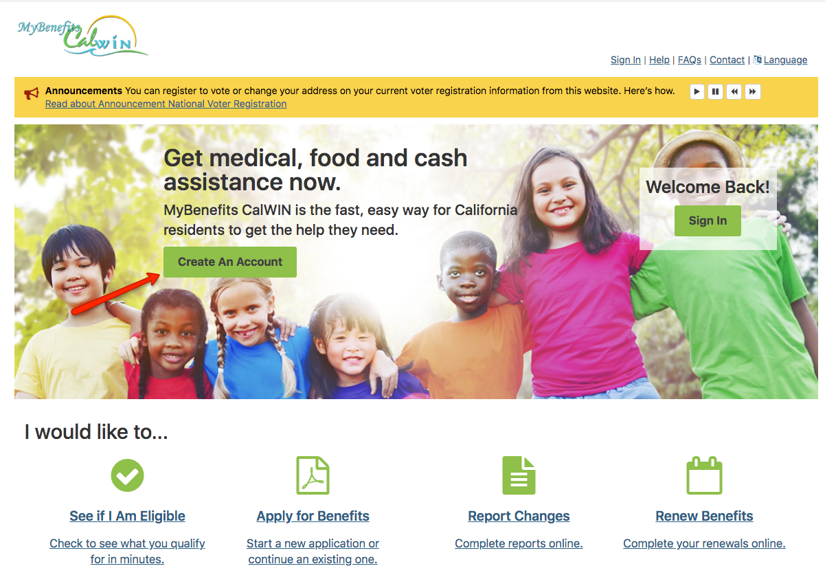 """Create a MyBenefits CalWIN Account Website"""